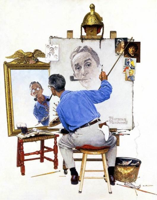 """Triple autorretrato"" de Norman Rockwell."