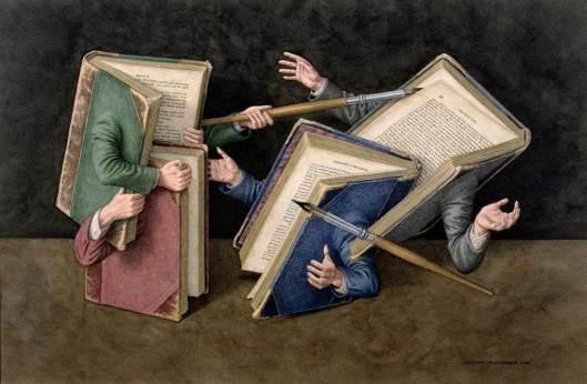"""Justa literaria"". Ilustración de Jonathan Wolstenholme."