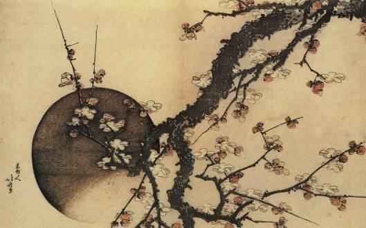 """""""Luna y ciruelo"""" de Katsushida Hokusai."""