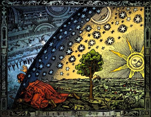 """""""Universum"""". Grabado Flammarion. Versión coloreada de Hugo Heikenwaelder."""