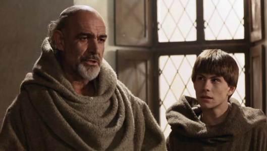 Guillermo de Baskerville y Adso de Melk en El nombre de la rosa.